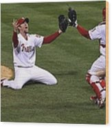 Carlos Ruiz and Brad Lidge Wood Print