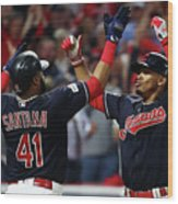 Carlos Santana and Francisco Lindor Wood Print