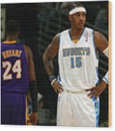 Carmelo Anthony, Allen Iverson, and Kobe Bryant Wood Print