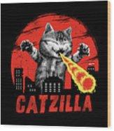 Catzilla Wood Print