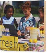 Children Selling Lemonade at Lemonade Stand Wood Print