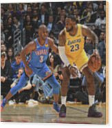 Chris Paul and Lebron James Wood Print