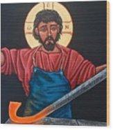 Christ Swords into Plowshares Wood Print