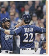 Christian Yelich and Lorenzo Cain Wood Print