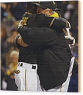 Clint Hurdle And Starling Marte Wood Print