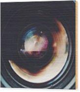 Close-Up Of Camera Lens Wood Print