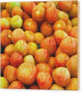 Close-Up Of Tomatoes For Sale Wood Print