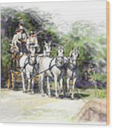 Coaching In Acadia- Carriage Driving Four In Hand Wood Print