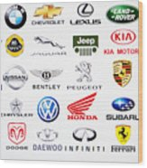 Collection Of Car Brand Logos Wood Print