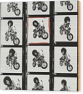 Contact Sheet of Marsha Hunt with a Motorbike Wood Print