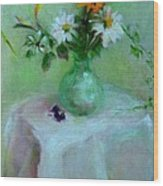 Daisies and White Linen  copyrighted Wood Print