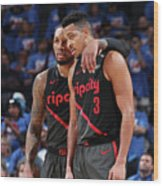 Damian Lillard and C.j. Mccollum Wood Print