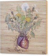 Dandelion Heart Wood Print