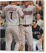 David Peralta, Welington Castillo, And Kyle Kendrick Wood Print