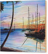 DAYS END  Yachting Regatta At Pigeon Point Tobago Wood Print