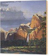 Deer Meadow Mountains Western stream Deer waterfall Landscape Oil Painting stormy sky snow scene Wood Print