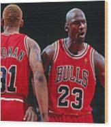 Dennis Rodman and Michael Jordan Wood Print