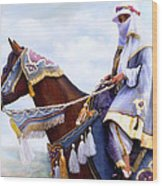 Desert Arabian Native Costume Horse And Girl Rider Wood Print
