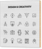 Design And Creativity Line Icons Set Wood Print