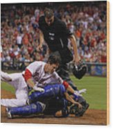 Dioner Navarro and Chase Utley Wood Print