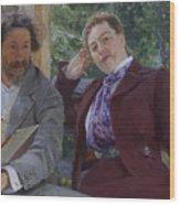 Double Portrait of Natalia Nordmann and Ilya Repin Wood Print