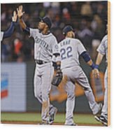 Dustin Ackley, Austin Jackson, and Brad Miller Wood Print