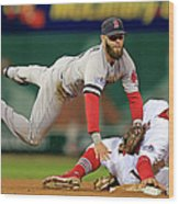 Dustin Pedroia, Jon Jay, and David Freese Wood Print