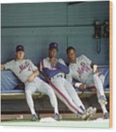 Dwight Gooden, Darryl Strawberry, and Lenny Dykstra Wood Print