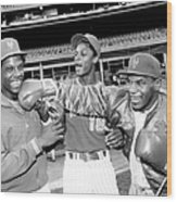 Dwight Gooden, Darryl Strawberry, And Mike Tyson Wood Print