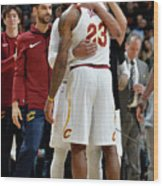 Dwyane Wade and Lebron James Wood Print