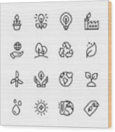 Ecology and Environment Line Icons. Editable Stroke. Pixel Perfect. For Mobile and Web. Contains such icons as Leaf, Ecology, Environment, Lightbulb, Forest, Green Energy, Agriculture. Wood Print