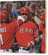 Elvis Andrus, Michael Young, and Josh Hamilton Wood Print
