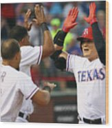 Elvis Andrus, Shin-soo Choo, and Rougned Odor Wood Print