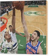 Enes Kanter and John Henson Wood Print