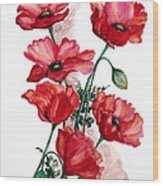 English Field Poppies. Wood Print
