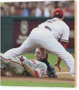 Eric Chavez and Chase Utley Wood Print