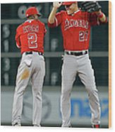 Erick Aybar and Mike Trout Wood Print
