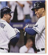 Evan Longoria and James Loney Wood Print