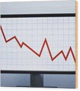 Falling financial graph Wood Print