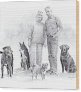 Family Parents And Dogs Wood Print