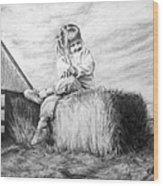 Farm Girl Wood Print