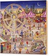 Ferris Wheel At The Carnival Wood Print