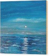 Full Moon Seascape Wood Print