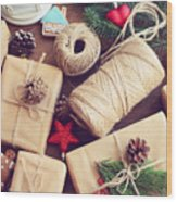 Gift Box On A Wooden Background Wood Print