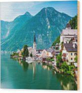 Hallstatt Village and Hallstatter See lake in Austria Wood Print