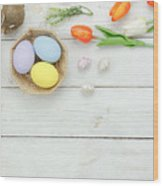 High Angle View Of Easter Eggs In Bowl On Table Wood Print