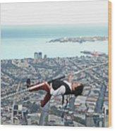 High-wire Artist Kane Petersen Performs Tightrope Walk Over Melbourne CBD Wood Print