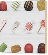 Holiday Candy Icons Wood Print