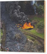Homes In Pahoa, Hawaii Threatened By Lava Flow From Kilauea Volcano Wood Print