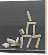 House Dominos Falling Wood Print